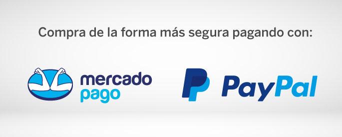 Paga seguro con Mercadopago y PayPal.